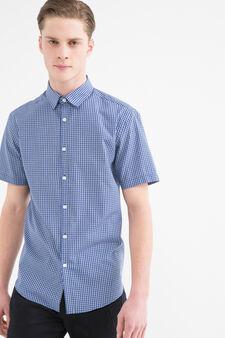 Check shirt in cotton blend, Blue, hi-res