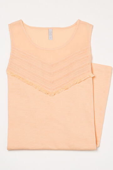 Solid colour cotton nightshirt, Orange, hi-res