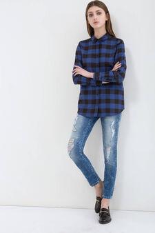 Jeans skinny fit con strappi, Blu scuro, hi-res