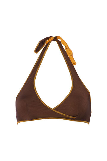 Solid colour stretch triangular top, Brown, hi-res