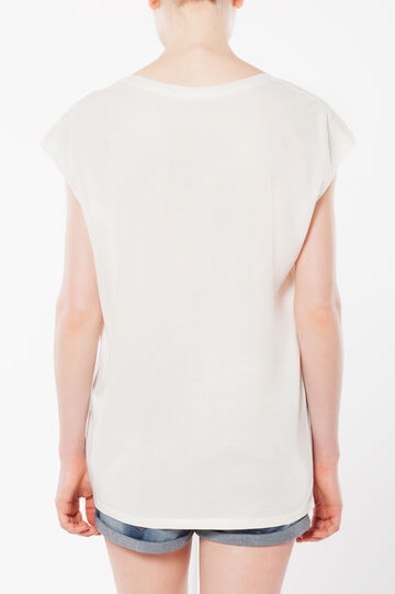 Sleeveless T-shirt with sheer sections, White, hi-res