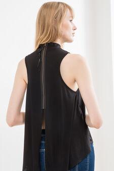 Stretch viscose blend top with high neck, Black, hi-res