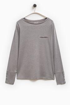 Smart Basic T-shirt with welt pocket, Grey, hi-res