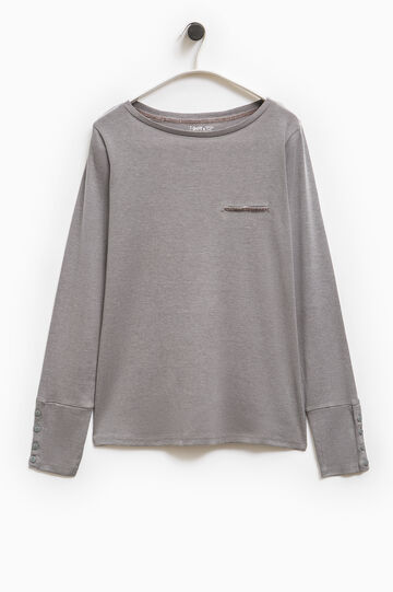 Smart Basic T-shirt with welt pocket, Grey, hi-res