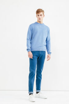 Solid colour pullover with round neck, Light Blue, hi-res