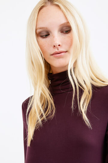 Solid colour stretch viscose turtleneck jumper, Aubergine, hi-res