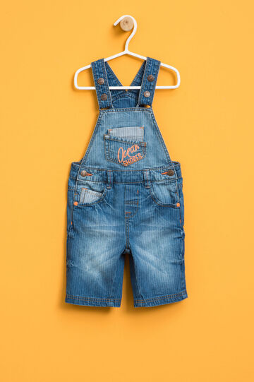 Denim dungarees with striped weave, Blue, hi-res