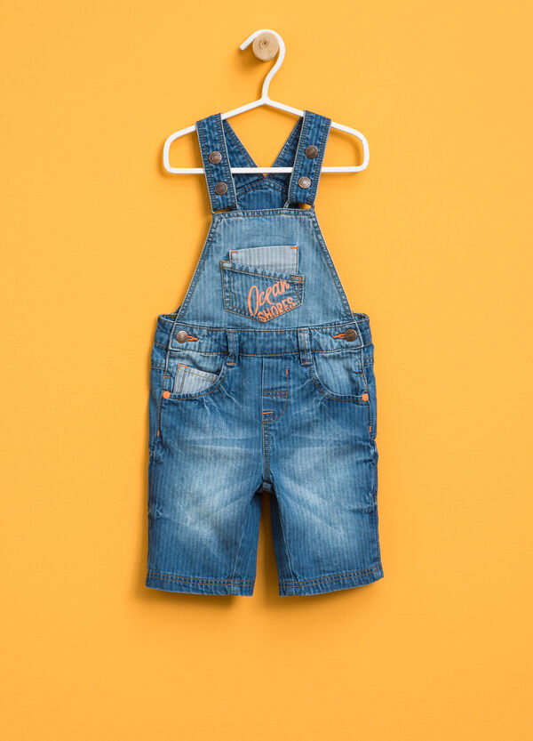Denim dungarees with striped weave | OVS