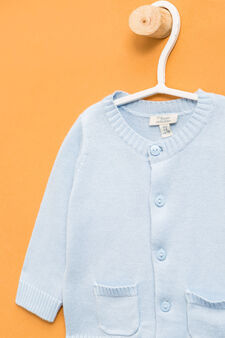 Cardigan with twin pocket, Light Blue, hi-res