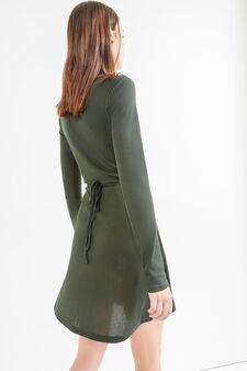 Ribbed V-neck dress, Forest Green, hi-res