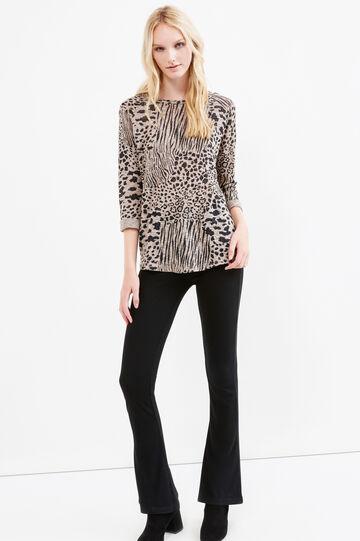 Cotton blend sweatshirt with animal pattern, Sand, hi-res