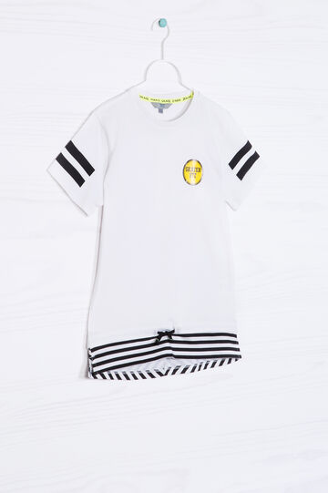 T-shirt puro cotone con coulisse, Bianco ottico, hi-res