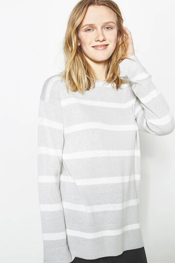 Striped cotton blend pullover, White/Grey, hi-res