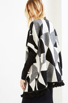 Cotton and wool cloak with tassel fringe, Black/White, hi-res