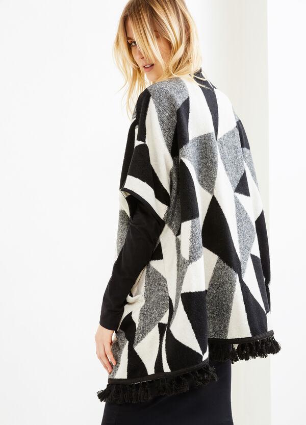 Mantella cotone e lana frange a nappina | OVS