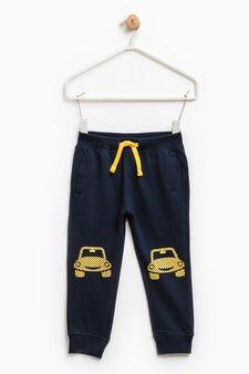 Pantaloni tuta puro cotone, Blu navy, hi-res