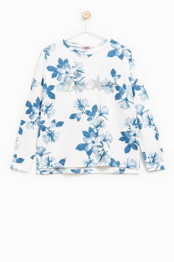 Felpa fantasia floreale con stampa, Bianco/Blu, hi-res