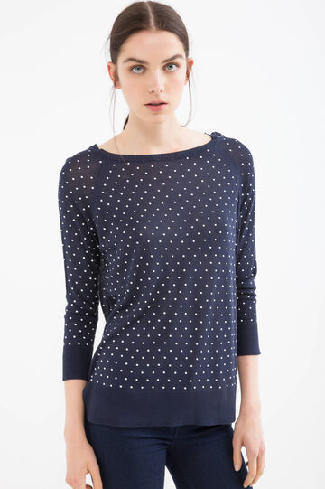 100% viscose pullover with polka dot pattern, Navy Blue, hi-res