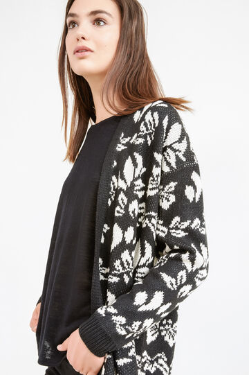 Knitted cardigan with floral pattern, White/Black, hi-res