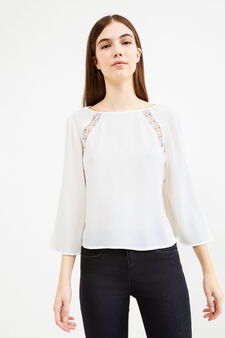 Openwork blouse with three-quarter sleeves, Milky White, hi-res