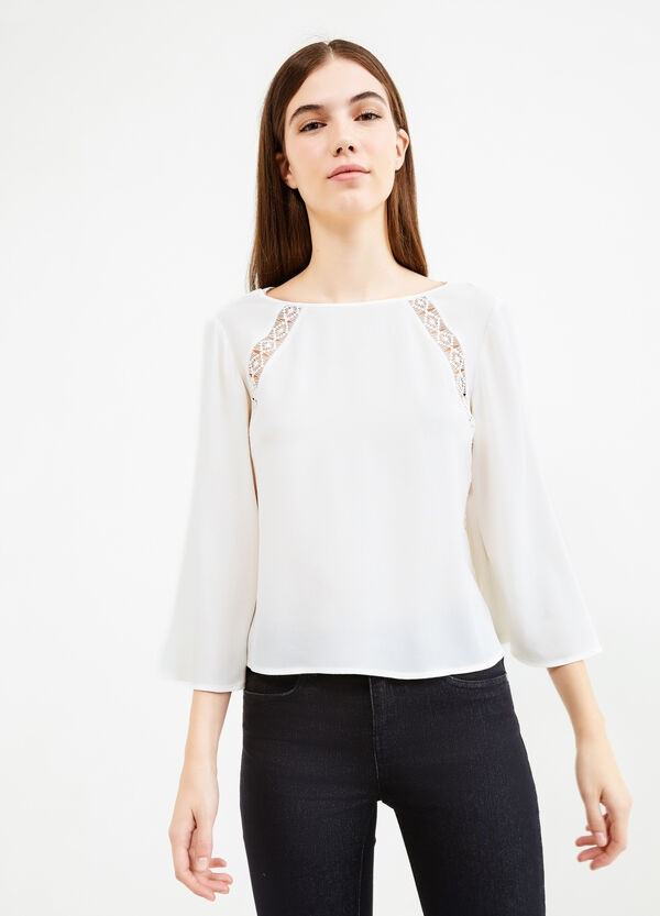 Openwork blouse with three-quarter sleeves | OVS