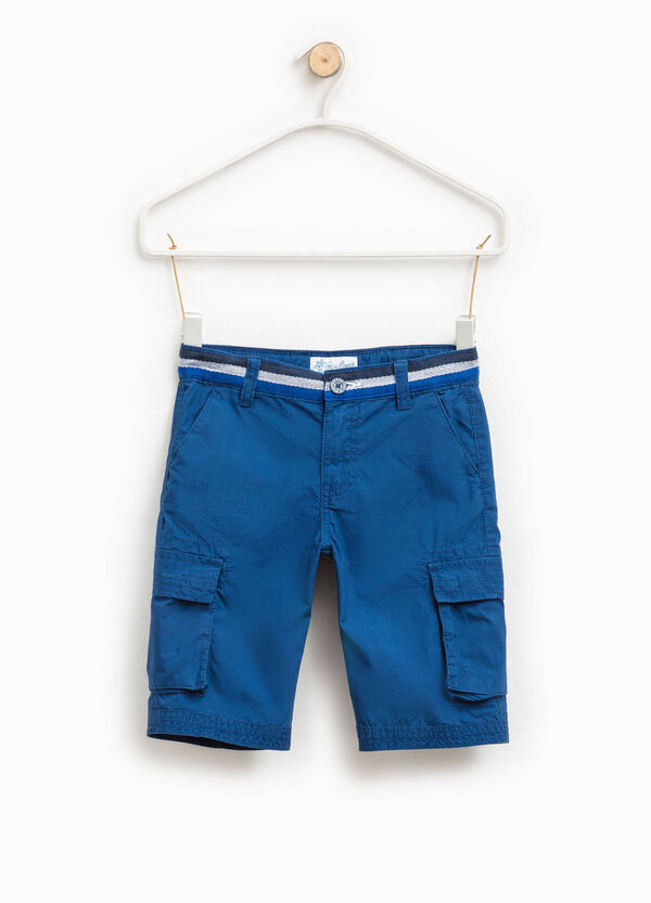 Cotton cargo Bermuda shorts with striped waist | OVS