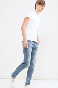 Jeans slim fit con strappi, Blu scuro, hi-res