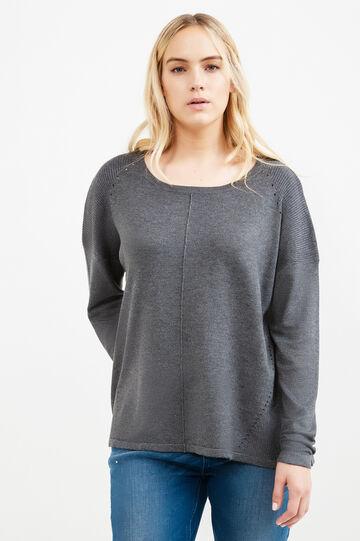 Pullover tricot lavorato a costina Curvy, Grigio melange, hi-res