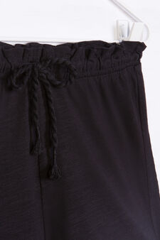 Shorts in 100% cotton with embroidery, Black, hi-res
