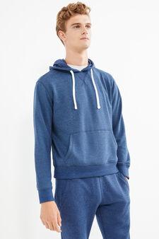 Solid colour cotton blend hoodie, Blue Marl, hi-res