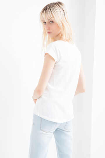 100% cotton T-shirt with pocket, Milky White, hi-res