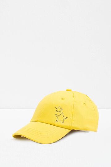 Cappello da baseball con strass, Giallo acido, hi-res