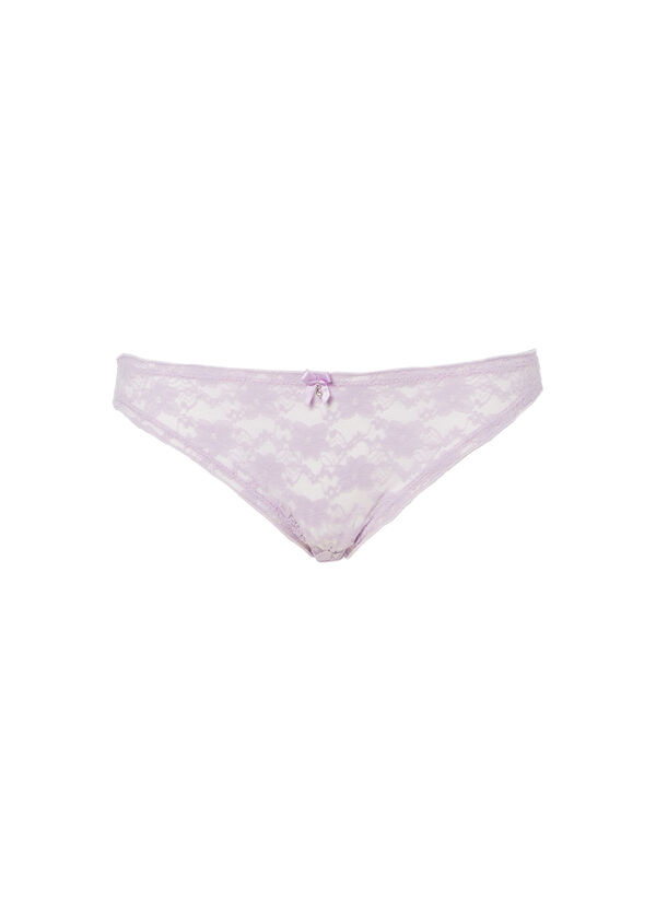 Thong with lace and embroidered flowers | OVS