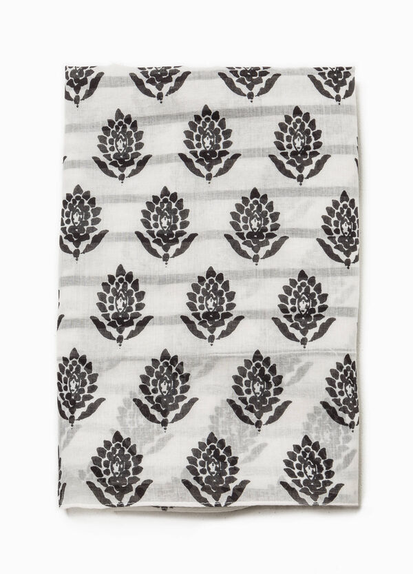 Striped scarf with flowers | OVS