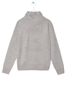 Solid colour knitted pullover, Grey, hi-res