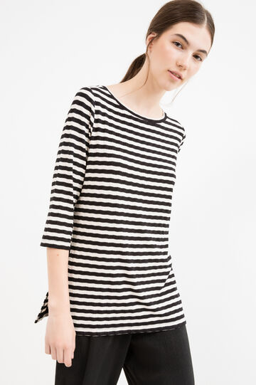 T-shirt with striped three-quarter sleeves, White/Black, hi-res