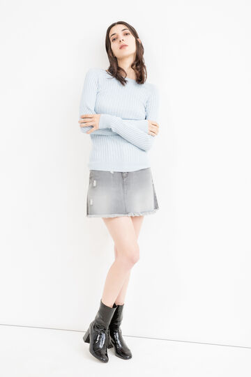 Denim skirt with eyelets, Grey, hi-res