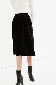Stretch velvet longuette skirt, Black, hi-res