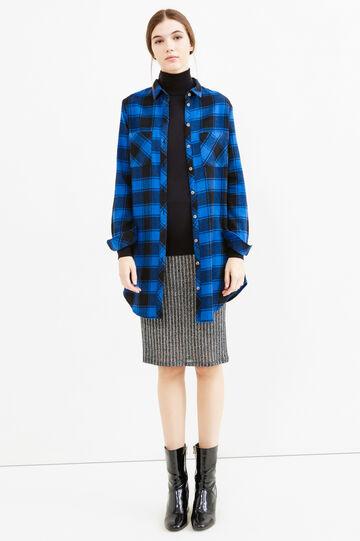 Camicia lunga in flanella a quadri, Nero/Blu, hi-res