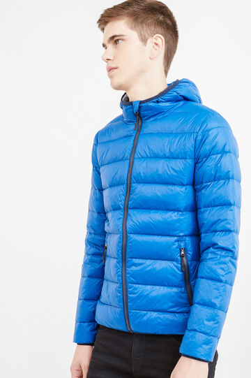 Real down jacket with hood, Cornflower Blue, hi-res