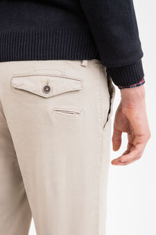 Slim fit, stretch cotton chino trousers, Beige, hi-res