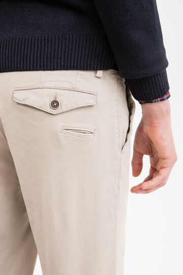 Pantaloni chino slim fit cotone stretch, Beige, hi-res