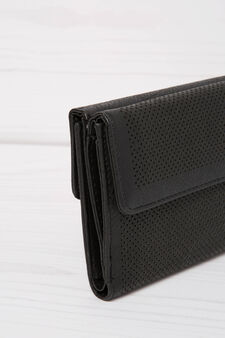 Solid colour openwork wallet, Black, hi-res