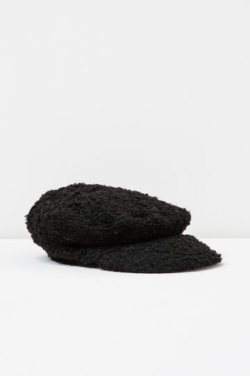 Knitted flat cap with visor, Black, hi-res