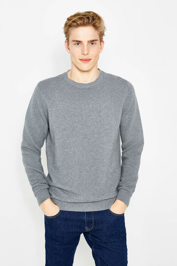 100% cotton knitted pullover, Grey Marl, hi-res