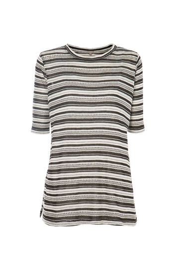 T-shirt a righe Smart Basic, Nero/Bianco, hi-res