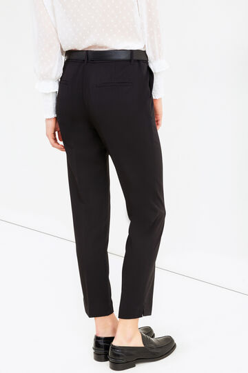 Stretch viscose trousers with crease, Black, hi-res