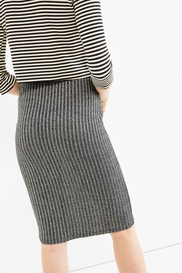High waist tube skirt with lurex, Grey/Silver, hi-res