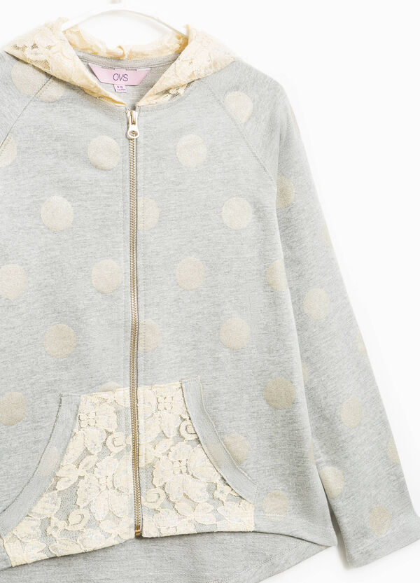 100% cotton sweatshirt with lace and polka dots | OVS