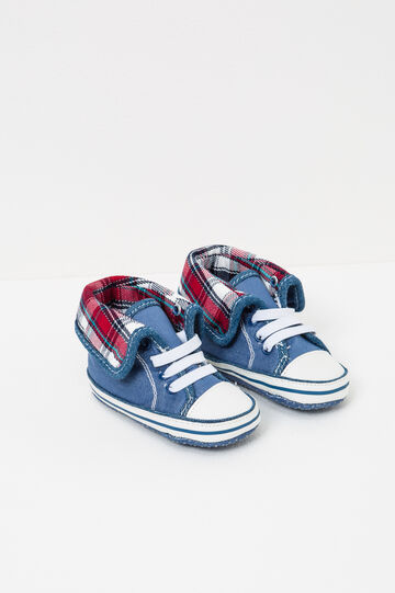 Sneakers with check lining, Blue, hi-res